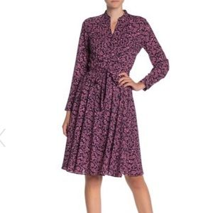 Nanette Lepore long sleeve floral pintuck dress